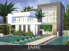 Jame is a contemporary home for a small sim family. Found in TSR Category 'Sims 4 Residential Lots'