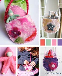 Klein Zoet Geluk: Vilten ini-mini tasjes met kaboutertjes