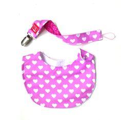 Pack hearts Bib + pacifier clip