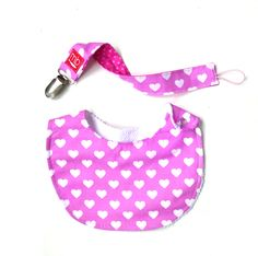 Pack hearts Bib + pacifier clip