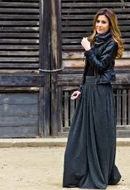 Maxi skirt and leather jacket combination, black and grey