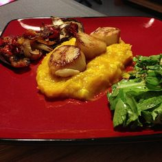 Grilled vegetables; pan-seared scallops on top of mashed butternut ...