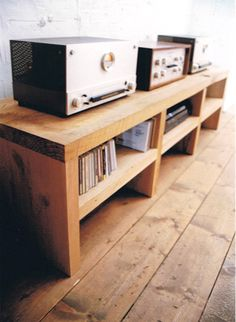 Bench & Shelves, great for entertainment unit! Simple, and can be stained any color, or painted.