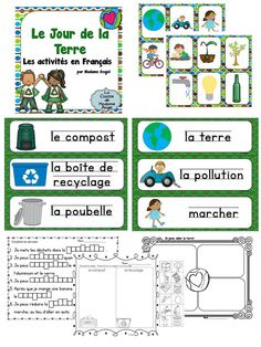 Jour de la Terre: Earth Day Literacy Activities in French French Teaching Resources, Teaching Themes, Teaching French, Earth Day Activities, Literacy Activities, Earth Day Information, French Education, Core French, French Classroom