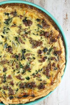 Sausage Spinach Quiche Recipe ~ simple and delicious for any meal of the day