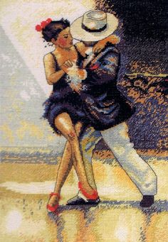 Put on your Red Shoes - cross stitch kit by maia - A striking picture of a couple dancing a tango. Counted Cross Stitch Kits, Cross Stitch Charts, Cross Stitch Designs, Cross Stitch Patterns, Cross Stitching, Cross Stitch Embroidery, Dance Paintings, Tapestry Crochet, Book Art