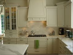 Country Style White Kitchen With Lovely Wall Subway Tile ...