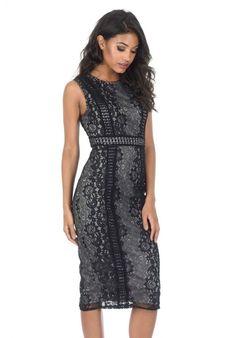 d27a33bf AX Paris Women's Black and Grey Lace Midi Dress - Online Exclusive, Size: 12