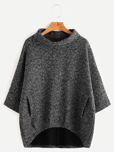Shop Dark Grey Turtleneck Dip Hem Pockets Sweatshirt online. SheIn offers Dark Grey Turtleneck Dip Hem Pockets Sweatshirt & more to fit your fashionable needs.