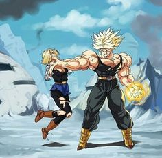 Dragon Ball Z Movie Fan Art ☆ Future Android 18 & Trunks Comics Anime, Anime Echii, Anime Art, Dbz, Dragon Ball Z, Fan Art, Character Art, Character Design, Android 18