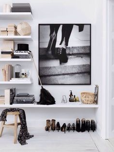 Shoes as Art: 10 Clever Shoe Storage Ideas for Small Spaces, shelves Home Interior, Interior Styling, Interior And Exterior, Interior Decorating, Modern Interior, Decorating Ideas, Decoration Inspiration, Interior Inspiration, Bedroom Inspiration