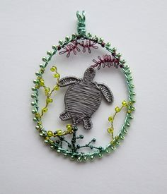 Sea Turtle wire wrapped and beaded pendant by LouiseGoodchild, £34.00
