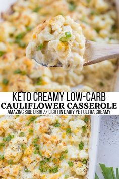Creamy Low-Carb Cauliflower Casserole made with only 8 basic ingredients! An amazing side dish any time of year and great for holiday gatherings. #keto #cauliflower