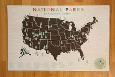 National Parks Checklist Map Print  11x17 print by ElloThere, $26.00...maybe a Christmas gift :)