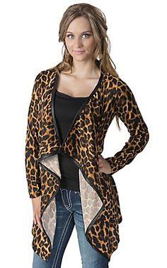 Karlie® Women's Leopard Print Aztec 3/4 Sleeve Cardigan | Cavender's
