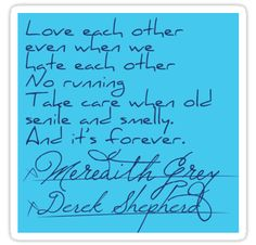 The post it that Derek Shepherd and Meredith Grey signed for their marriage. • Also buy this artwork on stickers, phone cases, home decor, and more.