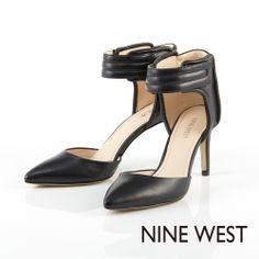 +NINE WEST 運動風與時尚感兼具 鋪棉壓縫飾帶設計高跟鞋-尖端黑 - Yahoo!奇摩購物中心