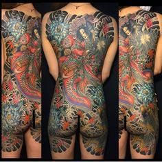 Fullback piece of art by artist Female Tattoos, Asian Tattoos, Weird Tattoos, Back Tattoos, Body Art Tattoos, Tattoos For Women, Tebori Tattoo, Irezumi Tattoos, Japanese Tattoo Women