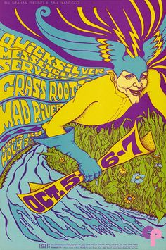 Classic rock concert psychedelic poster - Concert at the Fillmore Auditorium, Staring Quicksilver Messenger Service, Grass Roots & Mad River Rock Posters, Band Posters, Psychedelic Rock, Psychedelic Posters, Vintage Concert Posters, Vintage Posters, Woodstock, Wes Wilson, Fillmore Auditorium
