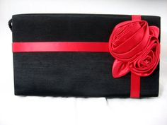 Vintage Evening Bag Red Satin Rose Original Tags Designer Purse  Lovely Liz Claiborne black purse with red satin big rose and accent ribbon.
