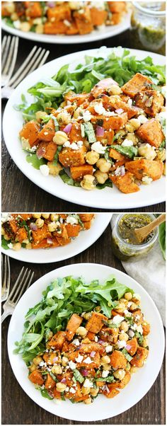 Sweet Potato Chickpea Salad with Pesto Recipe on twopeasandtheirpod.com This simple salad is loaded with flavor. Is great served as a side dish or main dish.