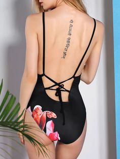 Vintage Flower Printed Back Criss-Cross One-Piece Swimsuit ==