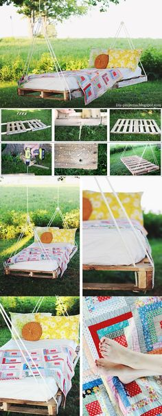 very simple and quick project, even with a few extra steps. just using a pallet and rope you can make a swing bed.