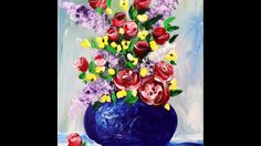 In this video, we're going to finger paint a vase of spring flowers. This is a good lesson for beginners on up! I'm painting on a 12x16-inch stretched canvas...