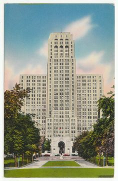 Postcards - United States # 443 - Alfred E. Smith State Office Building, Albany, New York