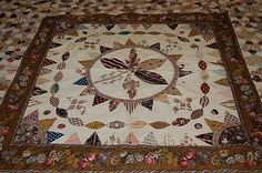 Close up of Patchwork coverlet, English 1830s, but with fabric dating from the late eighteenth century.