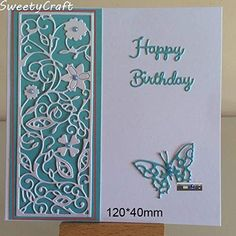 Cheap Cutting Dies, Buy Directly from China Suppliers:Dies Scrapbooking Flower Frame Metal Cutting Dies New 2018 Stamps Die Cut Craft Embossing Card Making Christmas DIY Background Birthday Cards For Women, Happy Birthday Cards, Women Birthday, Birthday Woman, Homemade Birthday Cards, Homemade Cards, Diy Birthday, Christmas Birthday, Butterfly Cards