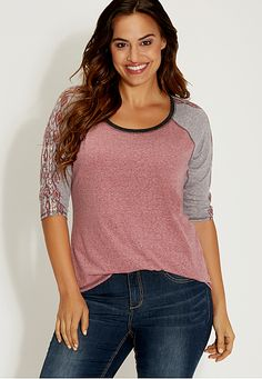 plus size heathered baseball tee with graphic sleeves (original price, $34) available at #Maurices