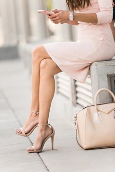nude tote and blush dress