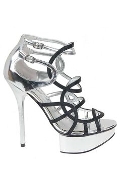 Black & Silver Multi Strap Shoe