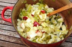 Cabbage recipes   2 tablespoons olive oil   2 tablespoons unsalted butter   1 whole leek   1/2 green cabbage head   1 large apple   2 teaspoons apple cider vinegar   1 1/2 teaspoons salt   1/2 teaspoon fresh ground black pepper