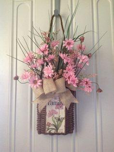 Front door hanging door basket with Pink by TammysFlowersandmore, $45.00