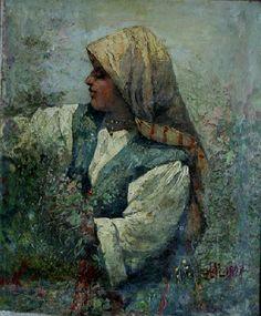 Rose gatherer. 1897. Anton Mitov (1862-1930) Антон Митов (1862-1930) Розоберачка 1897г. м.б.пл. 24.5/20см.