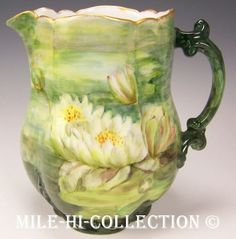 LIMOGES FRANCE HAND PAINTED WATER LILIES PITCHER