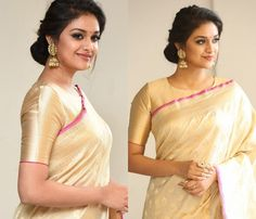 The Most Stylish Blouses Designs For Simple Sarees Simple Hairstyle For Saree, Indian Hairstyles For Saree, Saree Hairstyles, Golden Blouse Designs, Fancy Blouse Designs, Blouse Back Neck Designs, Hair Style On Saree, Kerala Saree Blouse Designs, Traditional Blouse Designs