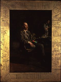 "Thomas Eakins, The Portrait of Professor Henry A. Rowland.  The frame on this painting explores ""the heady realms of physics to the grind of practical engineering. ... It consists of rough drawings of planned inventions, wiring diagrams, and columns of experimentally determined coefficients and graphed approximations based on a series of meticulous observations and minute calculations."" http://people.bu.edu/rcarney/ampaintings/rowlandtext.htm   Thomas Eakins , via Wikimedia Commons"