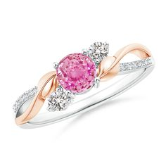 Pink Sapphire and Diamond Twisted Vine Ring in 14K White and Rose Gold (5mm Pink Sapphire)