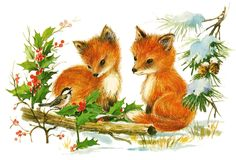 Retro Image - Adorable Foxes - Christmas - The Graphics Fairy