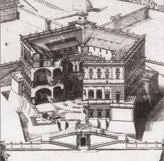 Palazzo di Caprarola - Palazzo Farnese (Caprarola) -  Incisione di Paul Letarouilly (XIX secolo)