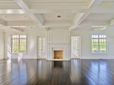 Looking for coffered ceiling design ideas and photos? Access the largest collection of coffered ceiling from top interior designers. Hardwood Floors Dark, Home, House Styles, Home And Living, Great Rooms, New Homes, Ceiling Design, Hamptons House, House