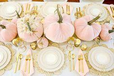 pink gold pumpkin table - blush velvet pumpkins - fall table Pink Pumpkin Fall Tablescape - this glam fall table is so easy to set with blush velvet pumpkins, cream dishes, gold flatware and lacy details Pumkin Decoration, Pumpkin Centerpieces, Decoration Table, Baby Shower Decorations, Pink Table Decorations, Pink Pumpkins, Velvet Pumpkins, Fall Pumpkins, Pumpkin 1st Birthdays