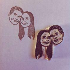 Custom Face Stamp www.lilimandrill.fr @lilimandrill #stamp #portrait #wedding #etsy #etsywedding #bride #christmas #christmasgift #savethedate