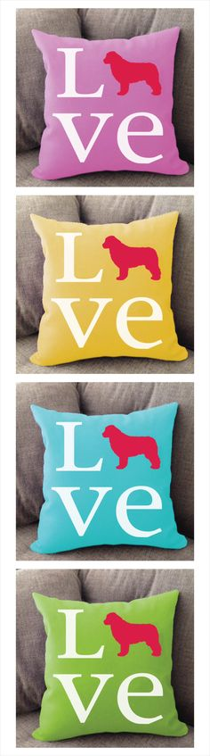 Newfoundland Love pillow. Offered in multiple colors and 50+ dog breeds. Cover is machine washable and Made in USA.