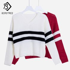 4 Colors V-neck Striped Long Sleeve Knitted Sweater PTC 263 //Price: $22.02 & FREE Shipping //     #fashion