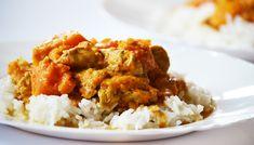 Sütőtök curry csirkemellel vagy anélkül | moksha.hu Risotto, Chili, Grains, Curry, Rice, Chicken, Meat, Ethnic Recipes, Food