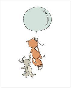 Woodland Nursery Art - Fox and Bunny Balloon - by Sweet Melody Designs
